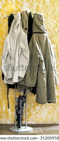 full coat rack  - stock photo