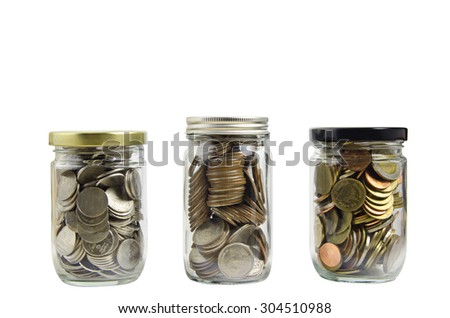 full coins in bottle isolated on white background
