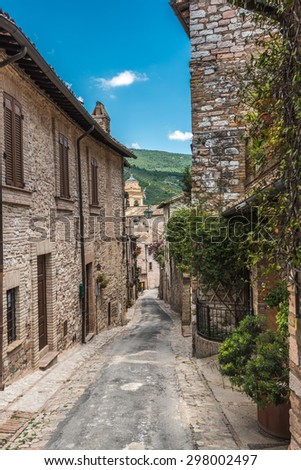 Full color beautiful streets in Umbria, Italy