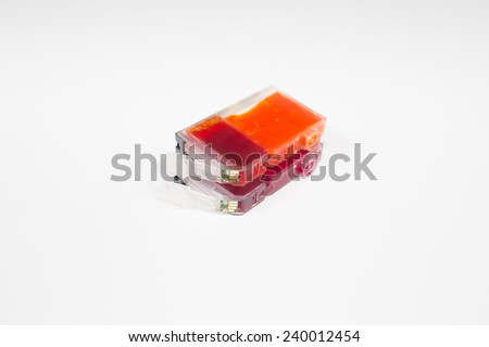 Full color cartridges for color inkjet printers isolated on white background - stock photo