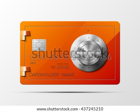 Full color credit card with the image of a safe with a combination lock on the front side