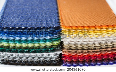 Full color samples of fabric. For sport, dance and hobby. - stock photo