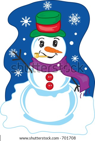 Full color vibrant illustration of a cheery winter snowman.