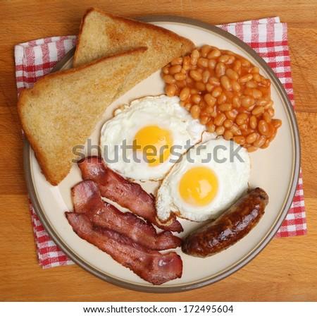 Full English cooked breakfast. - stock photo