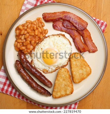 Full English cooked breakfast. - stock photo