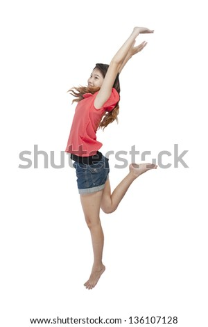 Full-fame of woman jumping in air - stock photo