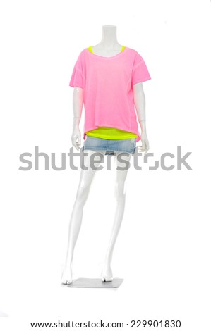Full female mannequin white t-shirt dressed in jeans pants - stock photo