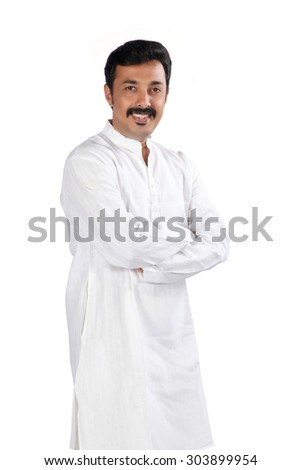 Full figure of traditional Indian young man - stock photo