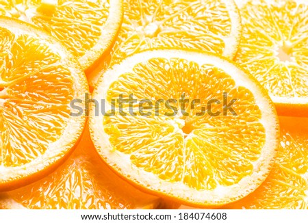 Full frame background of juicy orange slices showing the texture of the pulp, pith and rind with an angled perspective - stock photo