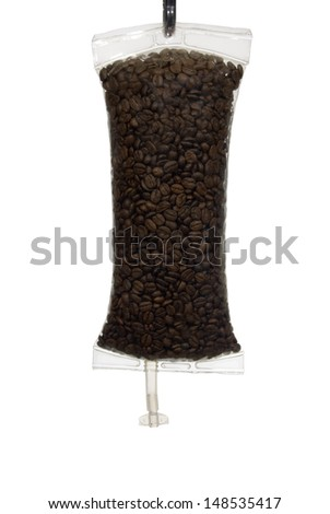 Full frame image of coffee beans in an IV bag as a metaphor for Coffee as a drug.