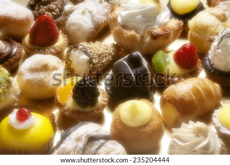 full frame photo of various italian pastries   - stock photo