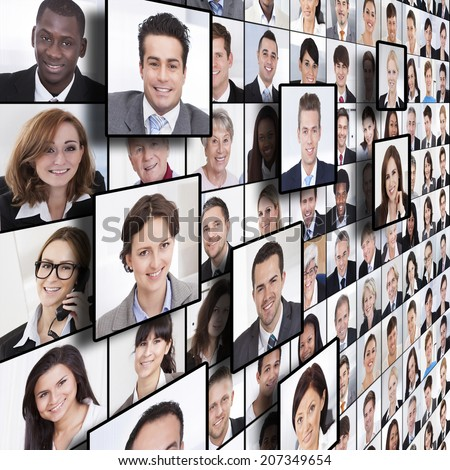 Full frame shot of business people collage