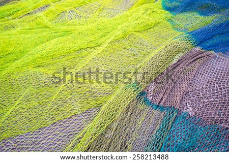 Full frame take of a heap of fishing nets - stock photo