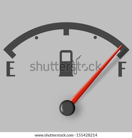 Full fuel sign with red indicator on grey background - stock photo