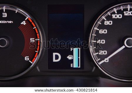 Full fuel symbol on dashboard type digital.
