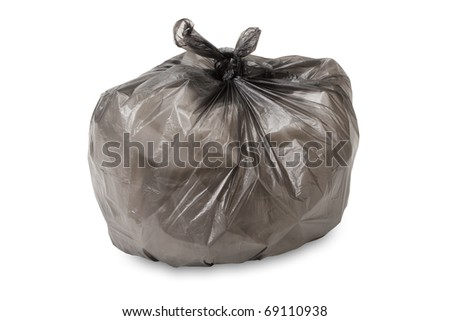 full garbage bag isolated on white background