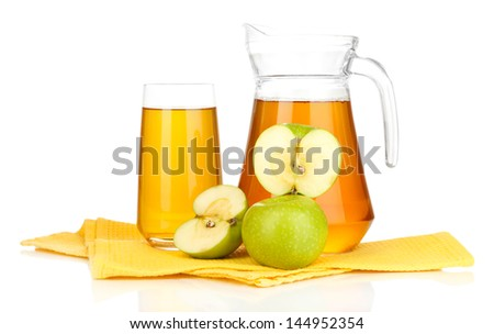 Full glass and jug of apple juice and apples isolted on white - stock photo