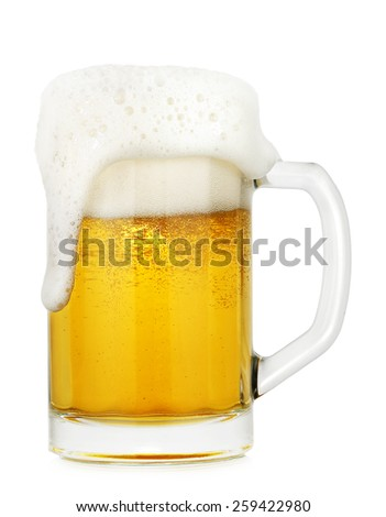 full glass of beer isolated on white  - stock photo