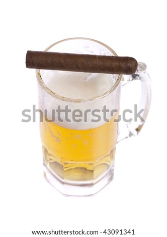 Full glass of beer with one cigar on white isolated