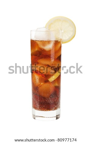 Full glass of cold cola isolated on white background.