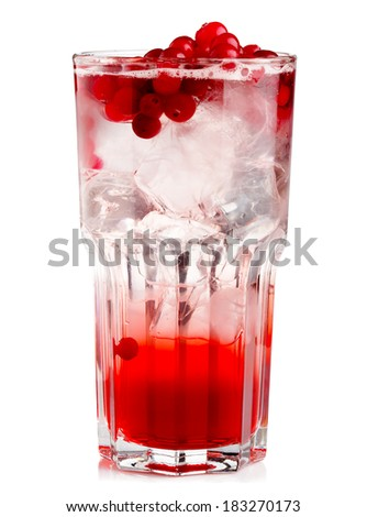 Full glass of fresh cranberries nonalcoholic cocktail with berries isolated