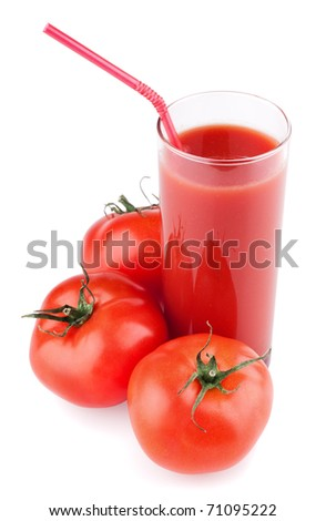 Full glass of fresh tomato juice and tomatoes isolated on white background