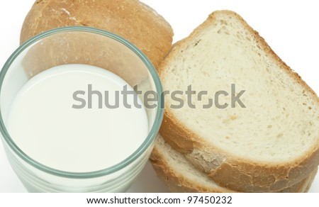 Full glass of milk with a few slices of bread