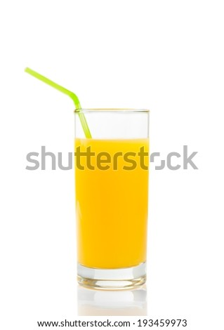 full glass of orange juice with straw on white background