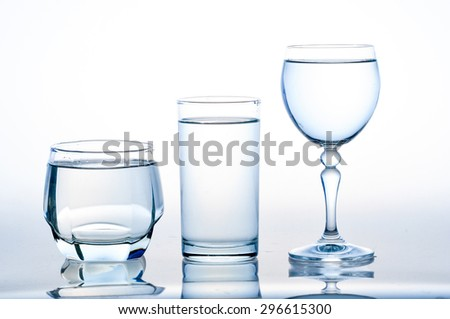 full glass of water isolated on white ,A glass of water ,water on a glass on white background - stock photo