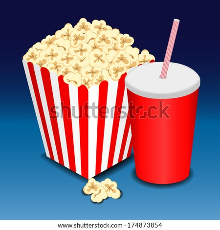 full glass with drink and popcorn. Raster version  - stock photo
