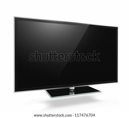 Full HD Led Television on white background - stock photo