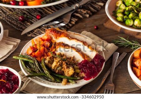 Full Homemade Thanksgiving Dinner with Turkey Stuffing Veggies and Potatos & Full Homemade Thanksgiving Dinner Turkey Stuffing Stock Photo ...