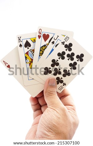 Full House in a hand isolated on a white background. - stock photo