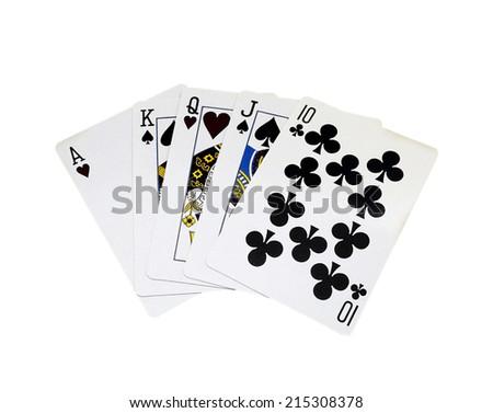 Full house, poker, isolated on white background - stock photo
