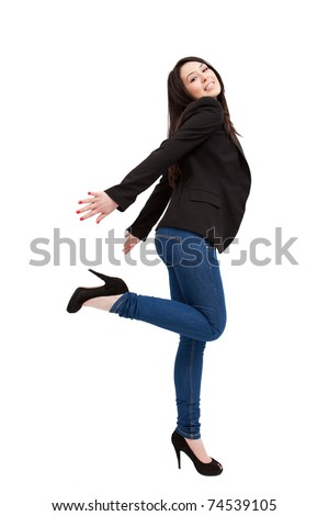 Full isolated body of happy young woman over white