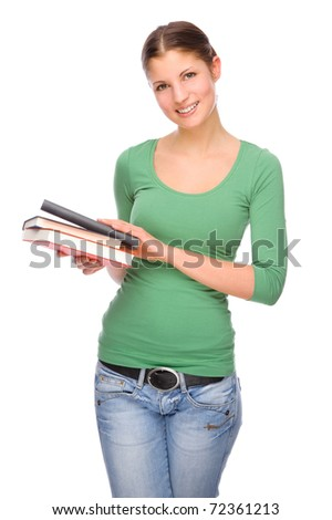 Full isolated portrait of a beautiful and happy young student - stock photo