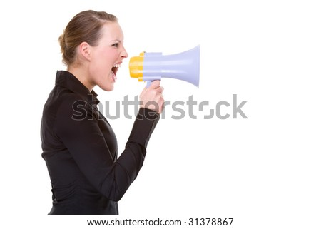 Full isolated portrait of a beautiful caucasian businesswoman shouting with a megaphone