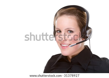 Full isolated portrait of a beautiful caucasian businesswoman with a headset