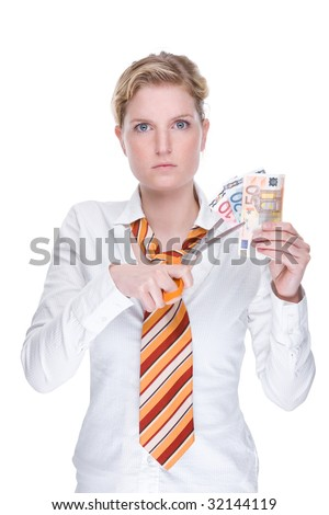 Full isolated portrait of a beautiful caucasian businesswoman with a scissors and banknotes