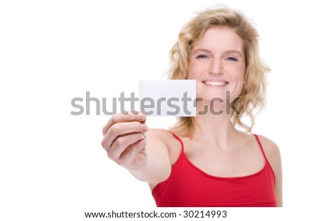 Full isolated portrait of a beautiful  caucasian woman with a blank business card