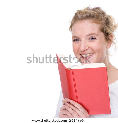 Full isolated portrait of a beautiful  caucasian woman with a red book - stock photo