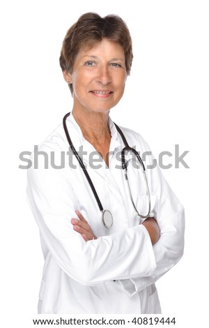 Full isolated portrait of a senior doctor