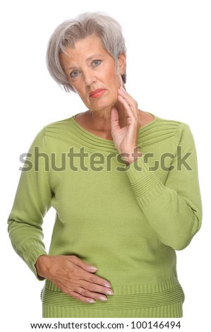 Full isolated portrait of a thinking senior woman