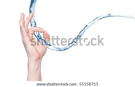 Full isolated studio picture from a human hand with some water - stock photo