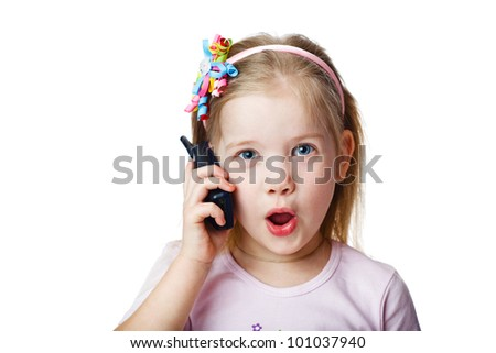 Full isolated studio picture from a little child with cell - stock photo