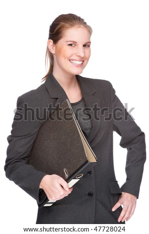 Full isolated studio picture from a young and beautiful business woman with folder
