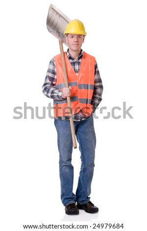 Full isolated studio picture from a young construction worker - stock photo