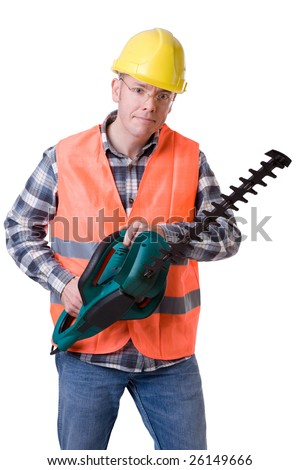 Full isolated studio picture from a young gardener with a hedge trimmer - stock photo
