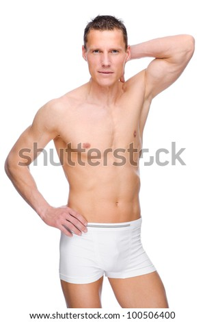 Full isolated studio picture from a young naked man with underwear - stock photo