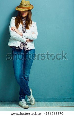 Full leg fashion portrait. American country style. Young model. Casual style. - stock photo